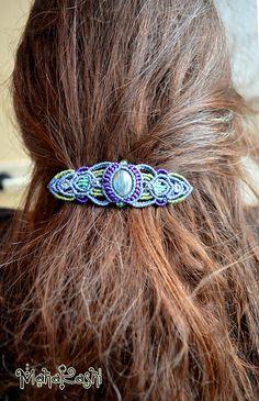 Macramè hair barrette/clip The sea hair clip by MahakashiCreations