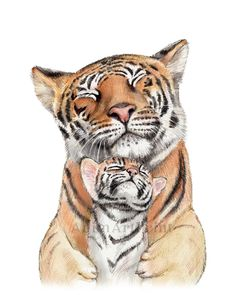 Tiger Mom and Baby Animal Print Painting for Nursery Safari Animal Nursery Decor Mother & Daughter Mother and Son Art Tiger Cub Print Mom Drawing, Tiger Drawing, Tiger Painting, Tiger Art, Tiger Tiger, Bengal Tiger, Nursery Paintings, Animal Paintings, Animal Drawings