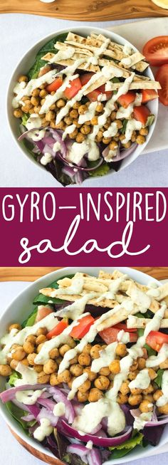 Vegan Gyro Salad Recipe: This veggie-packed gyro-inspired salad is topped with greek-spiced chickpeas, crispy baked flatbread strips for crunch, and a creamy vegan tzatziki sauce.