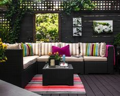 Colorful #outdoor #patio #furniture with stripes and gorgeous wall #art. I'd love this!