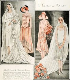 1920s bridal and bridesmaid gown fashion illustrations