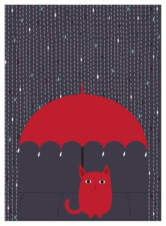 Gato Lámina Lámina lluvia gatito gato amante del arte por strawberryluna