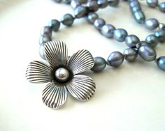 Gray Knotted Pearl Necklace with Fine Pure Silver Flower Pendant on Etsy, $48.00