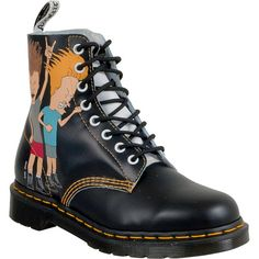 Dr. Martens Beavis and Butt-Head Pacal Women's Combat Boot ($150) ❤ liked on Polyvore featuring shoes, boots, black and white, dr martens boots, combat boots, two tone leather boots, unisex boots and real leather boots
