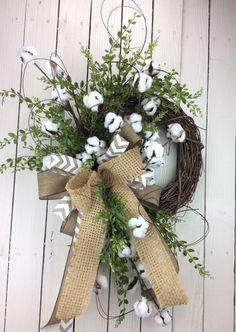 Cotton Wreath, Cotton Boll Wreath, Preserved Cotton Wreath, Spring Wreath, Year round Wreath, Priitive Wreath, Wedding Wreath, Cotton Branch by Keleas on Etsy https://www.etsy.com/listing/245783460/cotton-wreath-cotton-boll-wreath