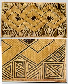Pinned from metmuseum.org Africa | Kuba people | Democratic Republic of the Congo, Sankuru River region | Double Panel Prestige Cloth | Raffia palm fiber |19th–20th century