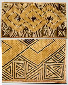 Pinned from metmuseum.org   Africa | Kuba people | Democratic Republic of the Congo, Sankuru River region | Double Panel Prestige Cloth  | Raffia palm fiber |19th–20th century