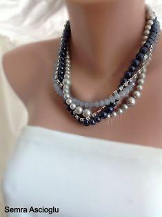 Nautical Wedding Jewelry, Chunky Pearl Necklace, Midnight Blue , Bridal Jewelry,Silver Navy Wedding Theme, Beaded  Necklace Chunky Necklace