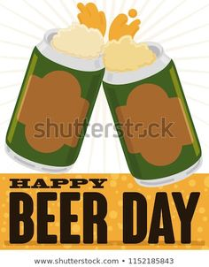 Toast with a pair of beers in cans with delicious froth coming out from it and a bubbly label to celebrate a happy Beer Day. Beer Day, Drink Sleeves, Bubbles, Toast, Royalty Free Stock Photos, Label, Canning, Happy, Ser Feliz