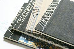 Black and blue Japanese stabbound blank guestbook by HandsandPages Diy Notebook, Handmade Notebook, Handmade Books, Japanese Notebook, Japanese Books, Binding Covers, Book Binding, Japanese Stab Binding, Japanese Stamp