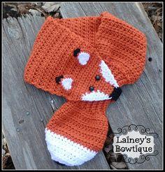 Crochet Fox Scarf by LaineysBowtique on Etsy