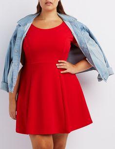 Plus Size Textured Skater Dress | Charlotte Russe