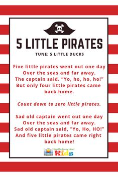 A great rhyme for pirate and adventure themes! It works wonderfully with scarves, too. Head over the the - Kids education and learning acts Kindergarten Songs, Preschool Music, Preschool Themes, Preschool Lessons, Preschool Pirate Theme, Pirate Songs For Kids, Songs For Toddlers, Pirate Activities, Classroom Activities