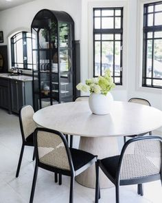 Our Modern Cottage Kitchen Makeover (on the cheap! Table And Chairs, Dining Chairs, Dining Table, Round Dining, Cane Chairs, Kitchen Desk Areas, Dining Room Inspiration, Furniture Inspiration, Interior Inspiration