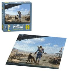 Emerge from Vault 111 in this 550-piece puzzle from Fallout 4! Set in a post-apocalyptic world, this image depicts a player character patrolling the wasteland with his faithful canine companion, Dog M