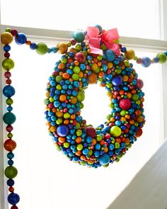 "16"" Multicolored Ball Wreath at Neiman Marcus."