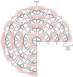 Ravelry: Mythfreak's Red Tide Shawl (South Bay, maar dan rond!) - patron chal south bay modificado para que sea semicircular en vez de triangulo. MUY INGENIOSO!