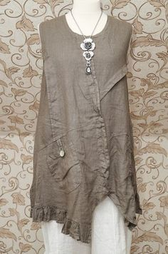 Gorgeous Mocha Taupe Linen Dress Tunic Italian Lagenlook Layering Top So Quirky | eBay: