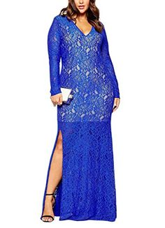 Nemidor Women's Long Sleeve Plus Size Lace Black Evening Party Maxi Formal Dress (26, Blue)