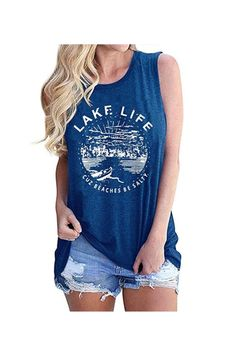 Women Graphic Tees Summer Vacation Tank Tops Lake Life Letters Print T Shirt Funny Saying Sleeveless Casual Vest Tee 50% Off – US only promo code 5046AGPK End date: Jul 24 #offer #sale #deal #Discount
