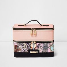 River Island Pink scarf print vanity case ($60) ❤ liked on Polyvore  featuring beauty