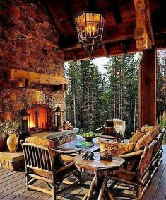 Simple Outdoor Living Spaces Design Ideas With Fireplace 37 Cabin Homes, Log Homes, Outdoor Rooms, Outdoor Living, Log Cabin Living, Log Home Decorating, Boho Home, Architecture, My Dream Home
