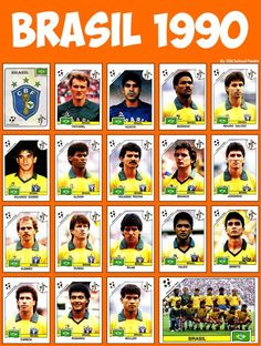 Brazil team stickers for the 1990 World Cup Finals. Brazil Football Team, Brazil Team, God Of Football, Football Images, Fifa Football, Best Football Team, World Football, Brazil Brazil, Soccer Cards