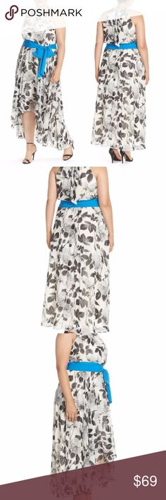 """Eliza J Dress Chiffon Black White Floral Plus sz Eliza J Maxi Dress Black White Size 22W Plus Floral Print Chiffon Hi-Lo $178 NEW  A monochromatic rose print adds romantic drama to the graceful high/low cut of this halter-style chiffon maxi, while a vivid blue sash accentuates the waist. - Halter neck - Sleeveless - Cutaway shoulders - Hidden back-zip closure; ties at nape - Allover rose print - Removable sash tie - Hi-lo hem - Lightweight, non-stretch chiffon - Lined - Approx. 45.5""""…"""