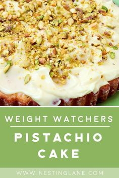 Weight Watchers Pistachio Cake Recipe - A low calorie dessert with white cake mix, eggs, Diet sugar free pistachio pudding mix, and fat free cool whip. Cake Mix Recipes, Pudding Recipes, Ww Recipes, Real Food Recipes, Yummy Food, Delicious Deserts, Pudding Desserts, Skinny Recipes, Yummy Eats