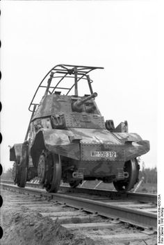 A French Panhard armoured car, captured by the Germans and adapted to operate on railway lines in the East.