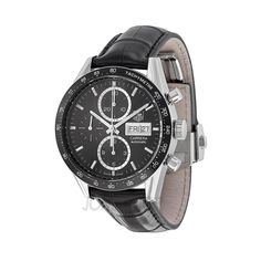 Tag Heuer Carrera Automatic Chronograph Black Dial Black Leather Mens Watch CV201AGFC6266