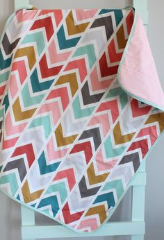 Arrow baby GEOMETRIC quilt blanket coral by PETUNIAS crib nursery decor baby shower gift newborn photo prop hipster modern chevron gray by PETUNIAS on Etsy https://www.etsy.com/listing/228751734/arrow-baby-geometric-quilt-blanket-coral