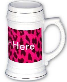 Plain Hot Pink Leopard Print Stein Mug (one of many mug options on Zazzle) #leopardprint #animalprint
