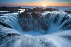 Thor's Well, Oregon.  I love this place, but I must admit, Devil's Churn scares me when its loud enough.