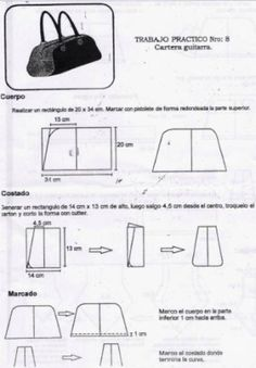 Patrones de carteras y bolsos - Imagui Handmade Handbags, Handmade Bags, Purse Patterns, Doll Patterns, Leather Bag Pattern, Stroller Bag, Frame Purse, Diy Doll, Leather Accessories