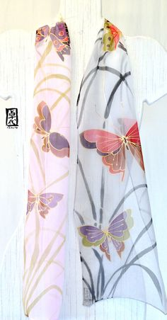Hand Painted Silk Scarf Pink and Gray Ombre di SilkScarvesTakuyo