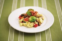 A vegetable-and-egg scramble; omega-3 eggs are on Dr Hyams Blood Sugar Solution 10 day detox diet's shopping list.