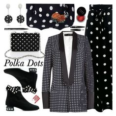 """""""Polka Dots"""" by ilona-828 ❤ liked on Polyvore featuring Oscar de la Renta, Pierre Hardy, Boutique Moschino, Haider Ackermann, Dolce&Gabbana, Concrete Minerals, Guerlain, NYX, PolkaDots and polyvoreeditorial"""