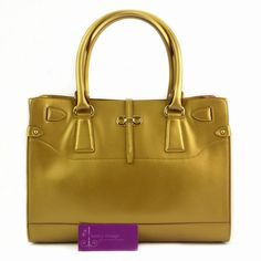 #Ferragamo Tote Gold Color Leather Good Condition  Ref.code-(BVUYO-2) More Information Or Price Pls Email  (- luxuryvintagekl@ gmail.com)