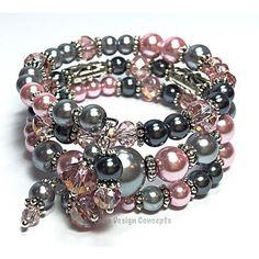 Wrap Bracelet- Pink Gray Memory Wire Bracelet- Pearl Cuff Bracelet-... (£16) ❤ liked on Polyvore featuring jewelry, bracelets, wire bangle bracelet, cuff bracelet, pink bracelet, bridal bracelet and grey pearl bracelet