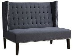 TOV Furniture Halifax Grey Linen Banquette Bench Dining Room