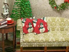 Scale Dollhouse Miniature Christmas Pillows Holiday by dalesdreams