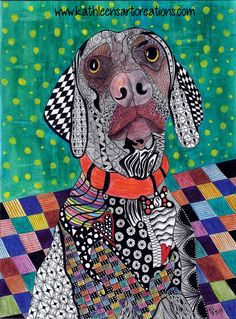 """Custom Whimsical Zentangle® Inspired Weimaraner named """"Sage"""". Completed 7-5-14 A 12-pack of note cards are available for $23.00 with FREE shipping and handling.  Prints also available plus much more."""