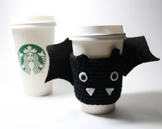 Halloween Bat Cup Sleeve Bat Coffee Cozy by MsAmandaJayne on Etsy, $15.00