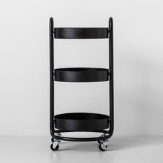 This cart from Target could come in handy in the bathroom. Round Metal Utility Cart Matte Black - Made By Design Storage Cart, Storage Drawers, Storage Ideas, Pot Storage, Organisation Ideas, Shelving Ideas, Shelves, Metal Cart, Utility Cart