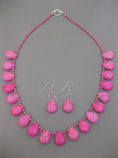 On Sale, Beautiful.  Hot Pink Howlite Gemstone Necklace Set Sterling Handmade - Perfect for Spring!