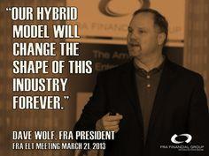 #FRAFinancialGroup President Dave Wolf talks about the #FRA business model.