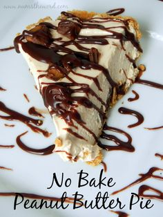 Num's the Word:  This easy no bake pie is a family favorite!  Light and fluffy filled topped with chunks of peanut butter cups and drizzled in chocolate is a hit among everyone who tries it!