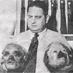 O legista Charles Pittex e as cabeças mumificadas de Lampião e Maria. Foto de 1939.