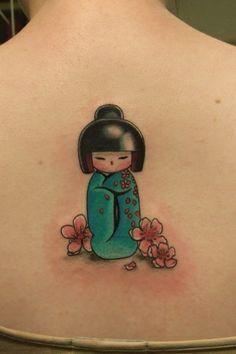 Kokeshi doll w/ cherry blossoms Great Tattoos, Unique Tattoos, Beautiful Tattoos, Design Tattoo, Tattoo Designs, Tattoo Ideas, Time Tattoos, Body Art Tattoos, Kokeshi Tattoo